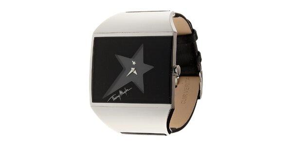 Dámske čierno-strieborné oceľové hodinky Thierry Mugler s čiernym koženým…