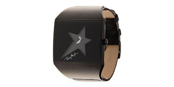 Dámske oceľové hodinky Thierry Mugler s tmavo hnedým koženým remienkom