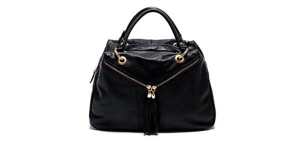 Dámska čierna kožená kabelka so šikmými zipsami Renata Corsi