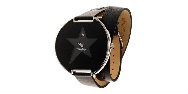 Dámske čierne náramkové hodinky Thierry Mugler s dlhým koženým remienkom
