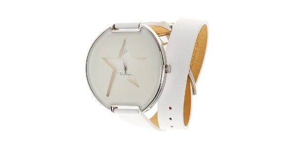 Dámske biele náramkové hodinky Thierry Mugler s dlhým koženým remienkom