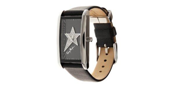 Dámske oceľové hodinky Thierry Mugler s čiernym koženým remienkom