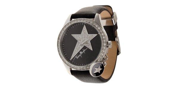Dámske oceľové hodinky Thierry Mugler s čiernym koženým remienkom a kamienkami
