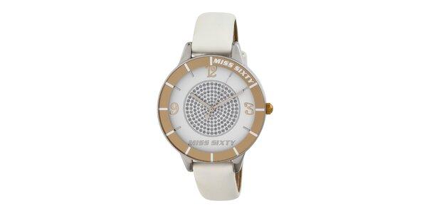 Dámske analógové hodinky s bielym remienkom Miss Sixty