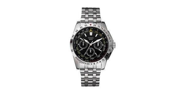 Pánske strieborné hodinky z nerezovej ocele s čiernym ciferníkom Guess