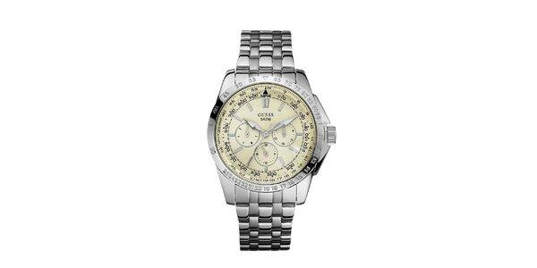 Pánske strieborné hodinky z nerezovej ocele s krémovým ciferníkom Guess