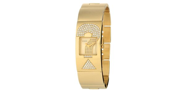 Dámske zlaté hodinky Guess s kamienkami