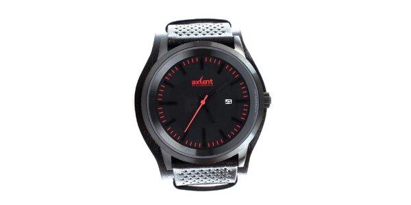 Pánske čierne hodinky so širokým remienkom Axcent