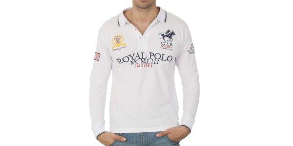 Pánske biele polo tričko s dlhým rukávom a nápismi Geographical Norway