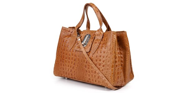 Dámska svetlo hnedá kabelka s krokodýlim vzorom Giulia