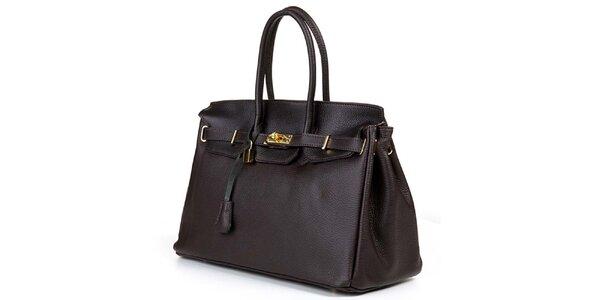Dámska tmavo hnedá kabelka so zlatým zámčekom Giulia