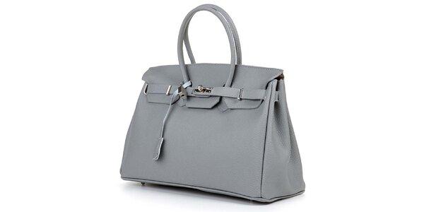 Dámska šedá kabelka so strieborným zámčekom Giulia