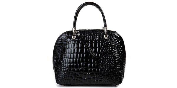 Dámska čierna kabelka s motívom krokodýlej kože Giulia