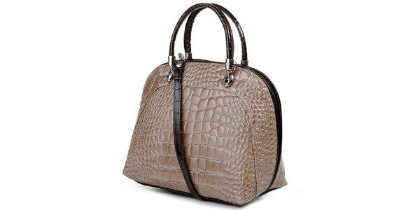 Dámska svetlo hnedá kabelka s motívom krokodýlej kože Giulia