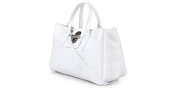Dámska biela kabelka s krokodýlim vzorom Giulia