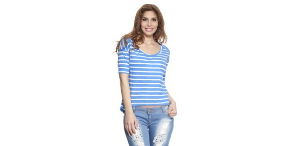 Dámske modro-biele pruhované tričko Janis