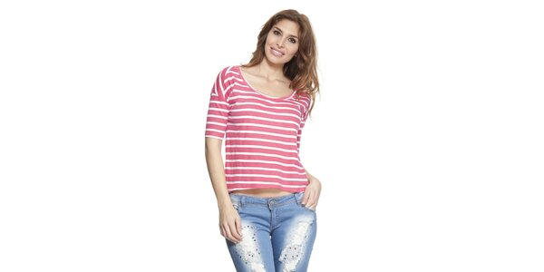 Dámske ružovo-biele pruhované tričko Janis