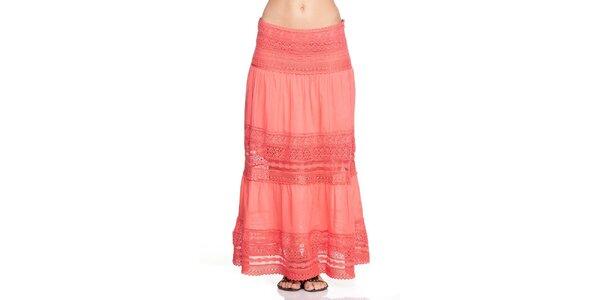 Dámska dlhá korálovo červená sukňa Kool