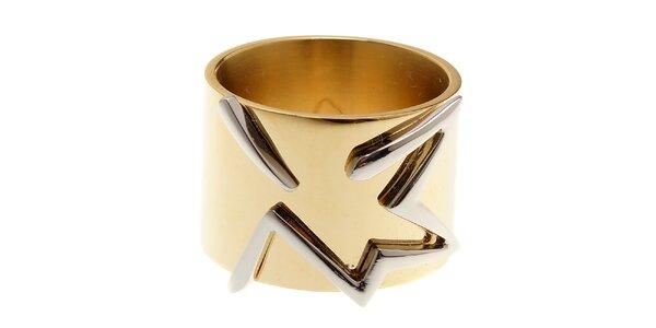 Dámsky zlatý ocelový prsteň Thierry Mugler so striebornou hviezdou