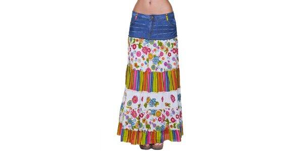 Dámska biela džínsovo-ružová pestrá dlhá sukňa Kool