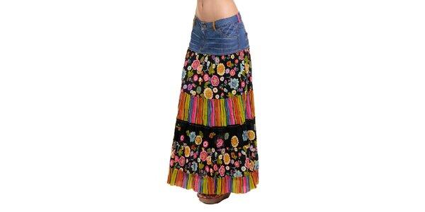 Dámska džínsovo-ružová pestrá dlhá sukňa Kool