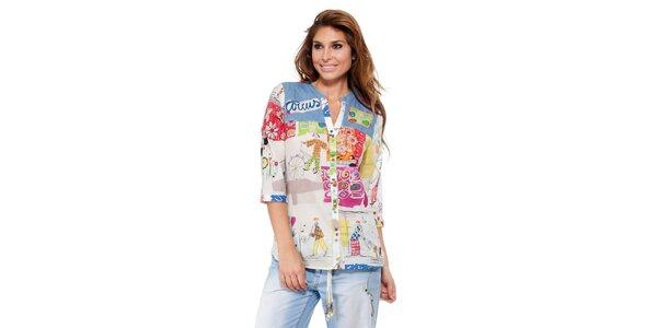Dámska košeľa s kreslenou farebnou potlačou Kool