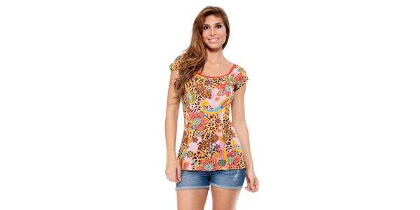 Dámske tričko s leoparďou a kvetinovou potlačou Kool