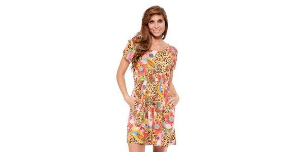 Dámske šaty s leopardím a kvetinovým vzorom Janis