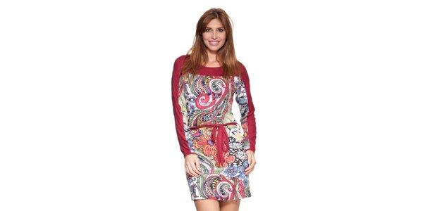 Dámske červené šaty s potlačou a opaskom Janis