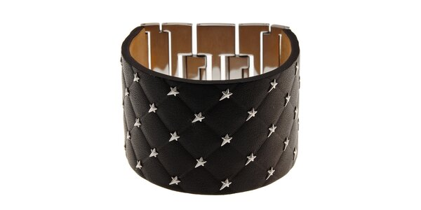 Široký čierny kožený náramok Thierry Mugler s kovovými hviezdami