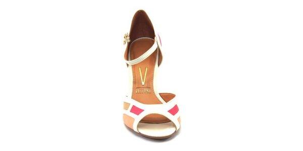 Dámske svetlé farebné sandálky na opätku Vizzano