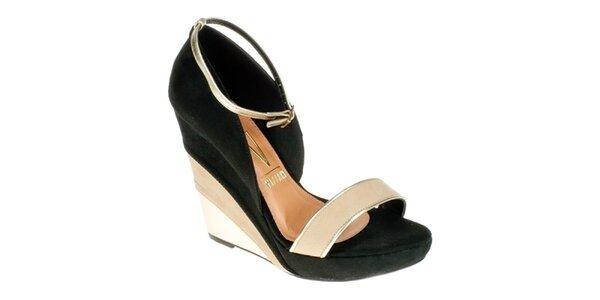 Dámske čierno-béžové sandálky na kline Vizzano