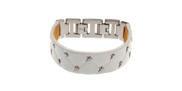 Úzky biely kožený náramok Thierry Mugler s kovovými hviezdami