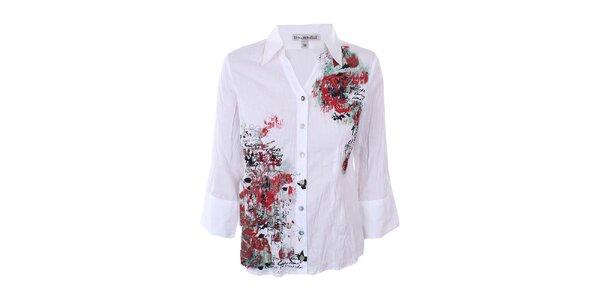 Dámska biela košeľa s farebnou potlačou Emma Pernelle