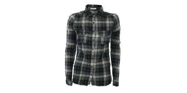 Dámska šedo-čierna károvaná košeľa Gémo