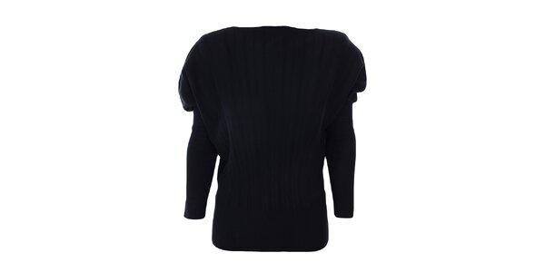 Dámsky čierny sveter s naberanými ramenami Nice Tricot