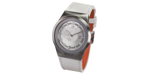 Pánske hodinky s bielym koženým remienkom Hugo Boss