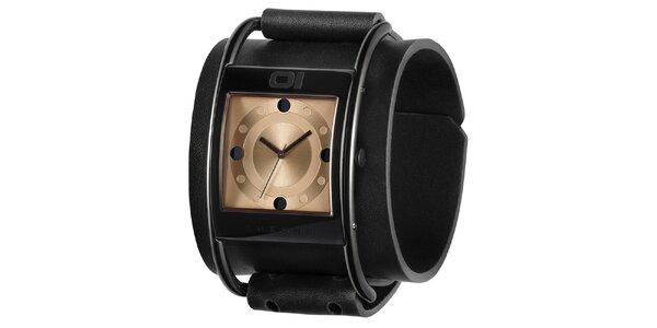 Pánske čierne náramkové hodinky so zlatým ciferníkom The One