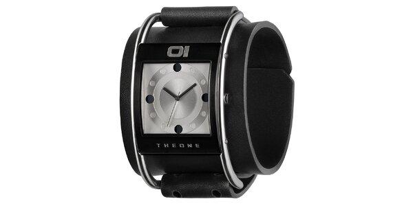 Pánske čierne náramkové hodinky so strieborným ciferníkom The One