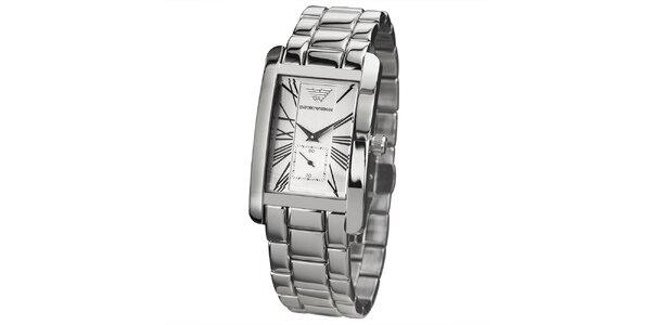 Dámske strieborné hodinky s hranatým ciferníkom Emporio Armani