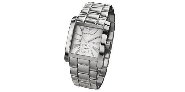 Pánske strieborné hodinky s hranatým ciferníkom Emporio Armani
