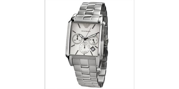 Pánske strieborné hodinky s chronografom a hranatým ciferníkom Emporio Armani
