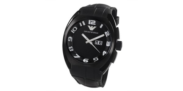Pánske čierne hodinky s dátumovkou Emporio Armani