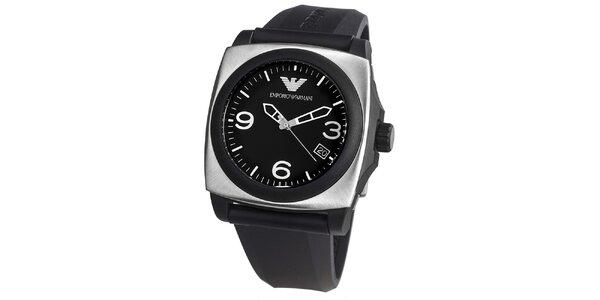 Pánske čierne hodinky s hranatým púzdrom Emporio Armani