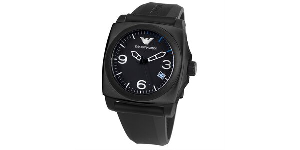 Pánske čierne hranaté hodinky s dátumovkou Emporio Armani