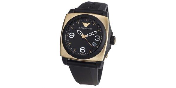 Pánske čierne hodinky s hranatým púzdrom v zlatej farbe Emporio Armani