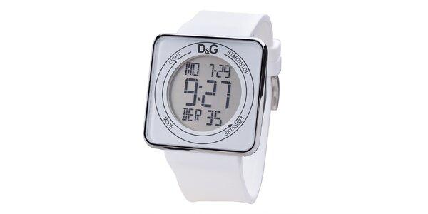 Biele digitálne hodinky s hranatým ciferníkom Dolce & Gabbana