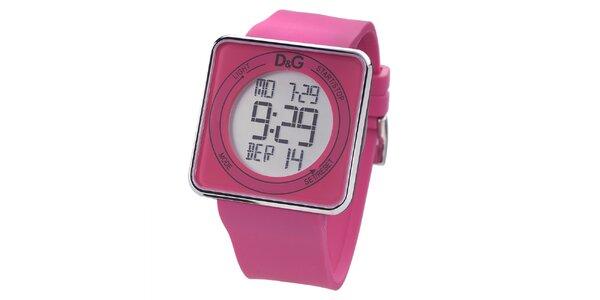 Dámske ružové digitálne hodinky s hranatým ciferníkom Dolce & Gabbana