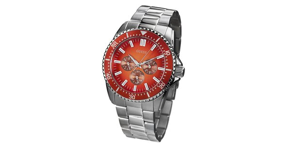 Pánske strieborné hodinky z nerezovej ocele s farebným ciferníkom Guess