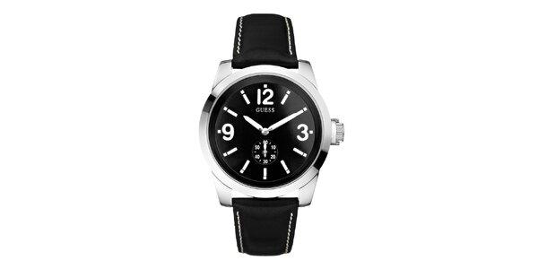 Pánske čierne hodinky so strieborným púzdrom Guess